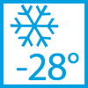 Garantuojamas funkcionalumas, temperatūrai nukritus iki -28 °C